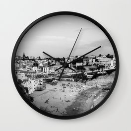 Carvoeiro town and beach in Lagoa, Algarve, Portugal. Black and White. Wall Clock