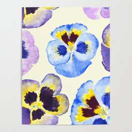 pansies pattern watercolor painting Poster