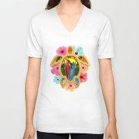 surfboard V-neck T-shirts featuring Hawaiian Surfboard Sunset by MacDonald Creative Studios