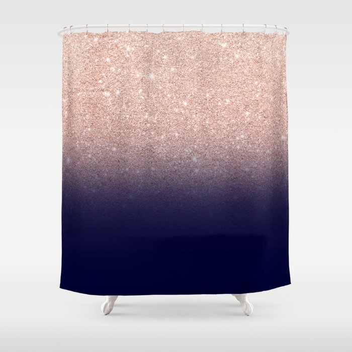 Modern Faux Rose Gold Glitter Ombre Gradient On Navy Blue Shower