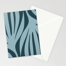 Maldives Abstract Minimal Botanical Pattern in Steel Blue Stationery Cards