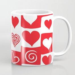 Love Pattern Text & Hearts Coffee Mug