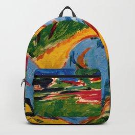 Liegender blauer Akt mit Strohhut - Ernst Ludwig Kirchner Backpack