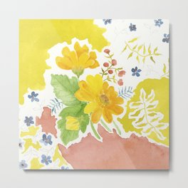 Daisy with Yellowed Green Metal Print