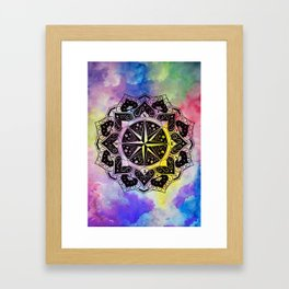 """Rose of the Winds""  WATERCOLOR MANDALA (HAND PAINTED) BY ILSE QUEZADA Framed Art Print"