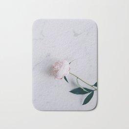 Blush Pink Peony on Marble Surface Bath Mat