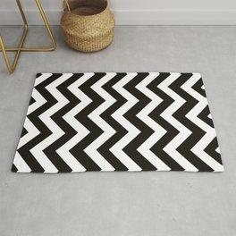 Smoky black - black color - Zigzag Chevron Pattern Rug