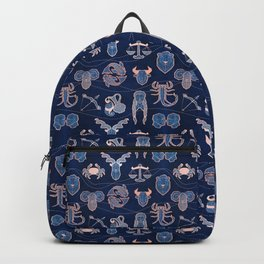 Geometric astrology zodiac signs // navy blue and coral Backpack