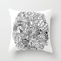doodle Throw Pillows featuring Doodle  by Vibe-Art