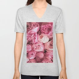Romantic Peony Flowers Bouquet Unisex V-Neck
