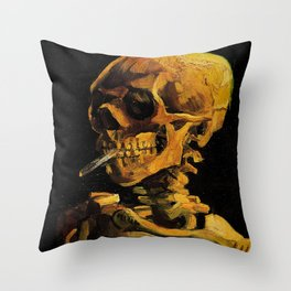 Van Gogh, Skull of a Skeleton with Burning Cigarette  – Van Gogh,Vincent Van Gogh,impressionist,post Throw Pillow