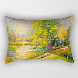 At sunset by the river Rectangular Pillow