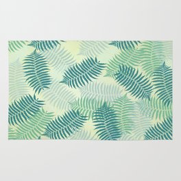 Fern Leaves on Pale Green Background Rug