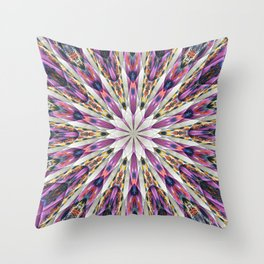 Purple Kaleidoscope Abstract Retro Groovy Throw Pillow
