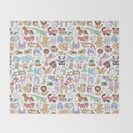 Winter Animals with Scarves Doodle Throw Blanket