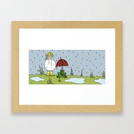 Eglantine la poule (the hen) under the rain. Framed Art Print