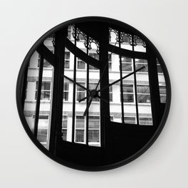 Windows in Infamous Rookery Building Chicago Illinois Black and White Photo Wall Clock