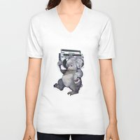 koala V-neck T-shirts featuring koala  by Laura Graves
