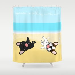 Frenchies Rolling In The Sand Shower Curtain