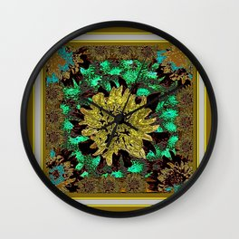 Stylized Abstracted  Khaki-Yellow Chrysanthemums Floral Wall Clock