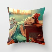kindle Throw Pillows featuring When she was six by Cyril ROLANDO