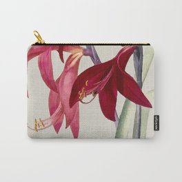 Red Vintag Flowers Carry-All Pouch