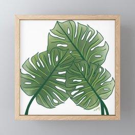 Large Monstera Leaf in Moss Green Framed Mini Art Print