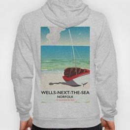 Wells-next-the-Sea Norfolk vintage beach poster Hoody