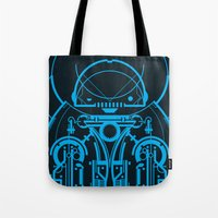 robot Tote Bags featuring Robot by Martin Laksman