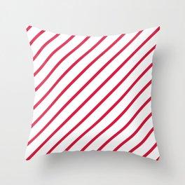 Diagonal Lines (Crimson/White) Throw Pillow