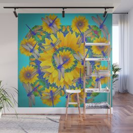 SHABBY CHIC BLUE DRAGONFLIES ON YELLOW SUNFLOWERS ART Wall Mural