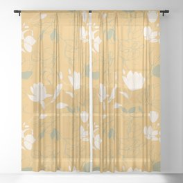 Magnolia flowers Sheer Curtain