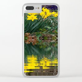 PUCE & YELLOW DAFFODILS WATER REFLECTION PATTERN Clear iPhone Case