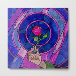 Enchanted Rose Stained Glass Metal Print