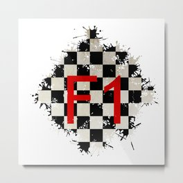 The Chequered Splatter Metal Print