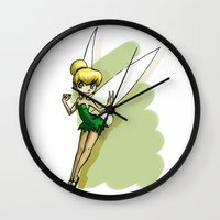 tinker bell Wall Clocks featuring Tinker by Sabina  Daldovo