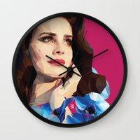 ultraviolence Wall Clocks featuring Del rey by Jesus Servin