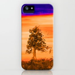 """Tree Line #7"" Orange Hue Painting iPhone Case"