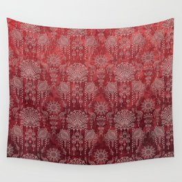 Victorian Potpourri - Faded Splendor Damask - RUBY Wall Tapestry