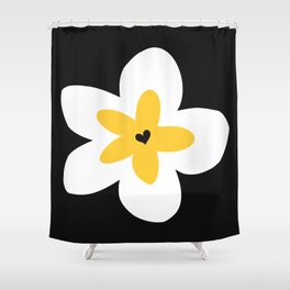 Yellow Plumeria (Black) Shower Curtain
