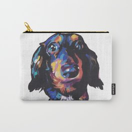 Dachshund Dog bright colorful Doxie Portrait Pop Art Painting by LEA Carry-All Pouch