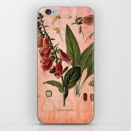 Vintage Botanical Illustration Collage, Foxgloves, Digitalis Purpurea iPhone Skin