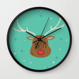 Merry Christmas and a Happy New Year Reindeer Print Wall Clock