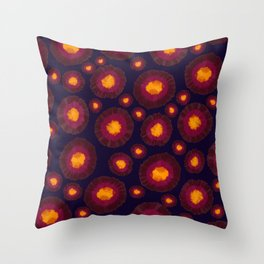 Artsy Burgundy Yellow Abstract Painted Flowers Throw Pillow
