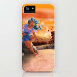 Flying a Kite in the Hills of Mouleau iPhone Case