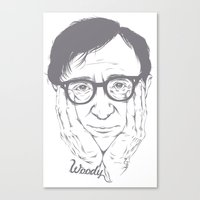 woody allen Canvas Prints featuring Woody Allen by Mai Evangelista