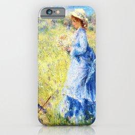 Pierre-Auguste Renoir - Woman Picking Flowers - Digital Remastered Edition iPhone Case