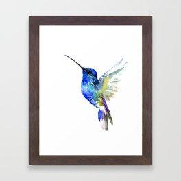 Hummingbird, Turquoise BLue Flying Bird decor Framed Art Print