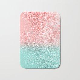 Summer Vibes Glitter #3 #coral #mint #shiny #decor #art #society6 Bath Mat