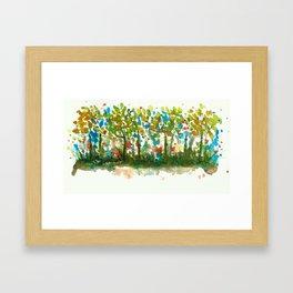 Silent Woods, Abstract Watercolors Landscape Art Framed Art Print